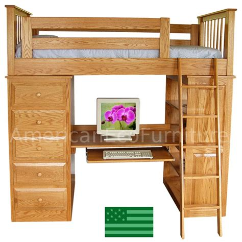 wood loft bunk bed amish sidney loft bed solid wood usa made children s