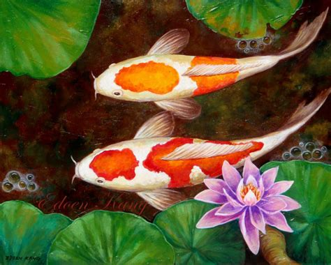acrylic painting koi fish unavailable listing on etsy