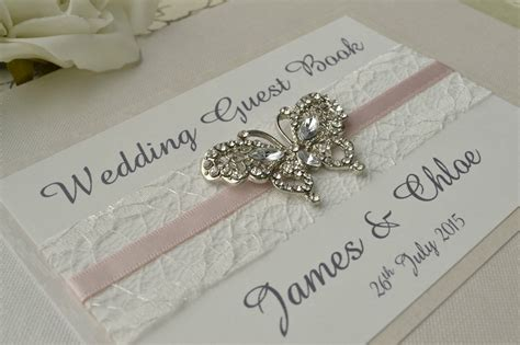 picture wedding guest book diamante butterfly wedding guest book luxury pearlescent