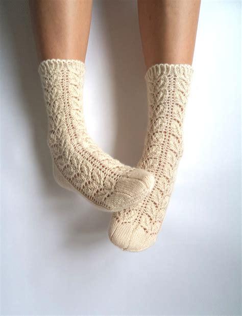 knitted socks white lace socks knit wool socks wool by