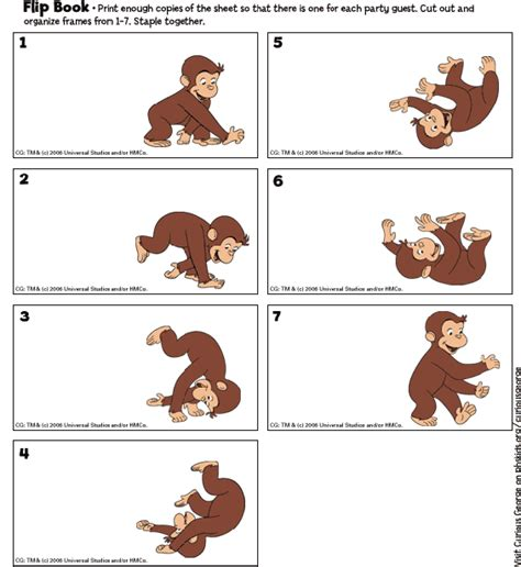 picture flip book curious george printables flip book birthday