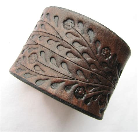 leather cuffs for jewelry wide brown leather cuff bracelet floral vine tooled