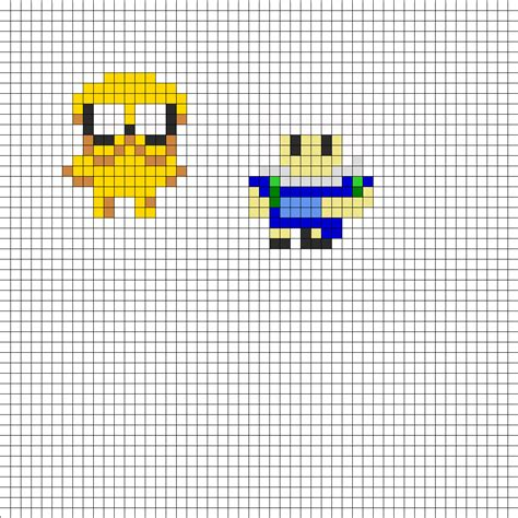 small perler finn and jake small perler bead pattern bead sprites