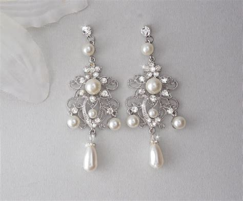 chandelier pearl earrings for wedding bridal earrings chandelier earrings wedding earrings
