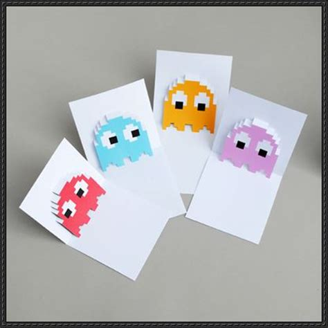 card paper craft pac ghosts pop up card free papercraft templates