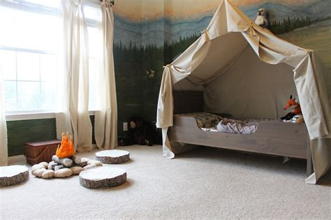 boys bed tent remodelaholic cing tent bed in a kid s woodland bedroom