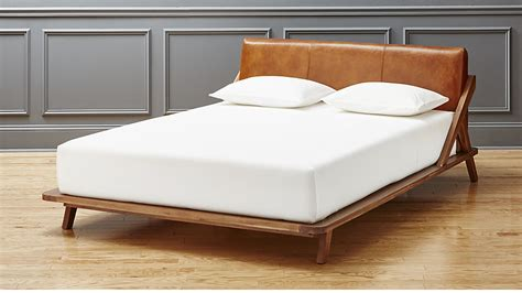 leather bed drommen acacia king bed with leather headboard cb2