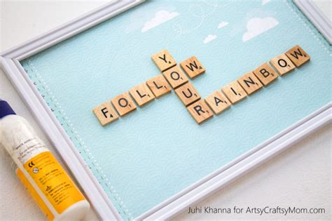 can you use re in scrabble diy scrabble tile craft follow your rainbow nursery wall