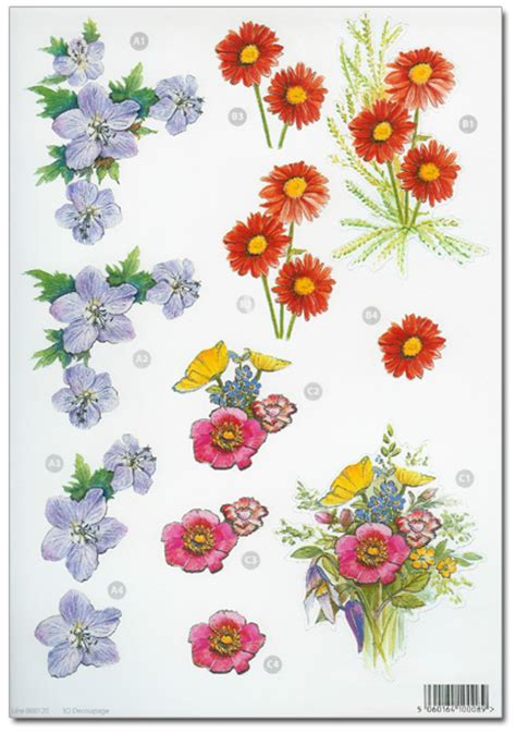 flower decoupage die cut 3d decoupage a4 sheet floral designs 120 163 1