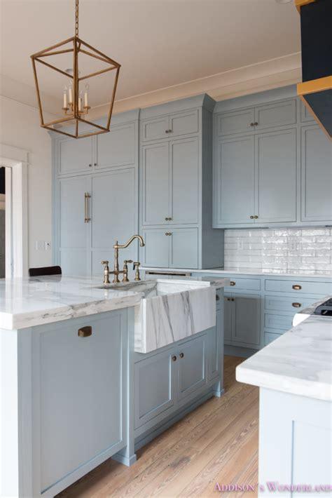 classic vintage modern kitchen blue gray cabinets inset our vintage modern kitchen reveal s
