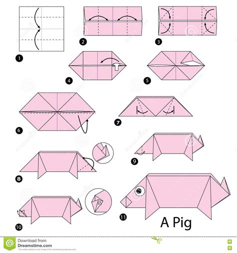 simple origami pig vector illustration paper origami of pig vector