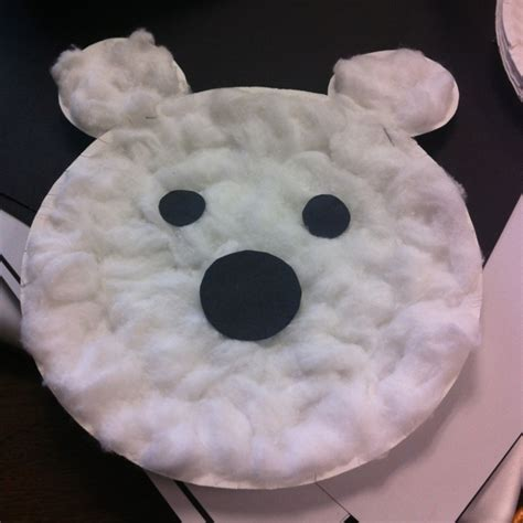paper plate polar craft polar paper craft used a paper plate with cotton