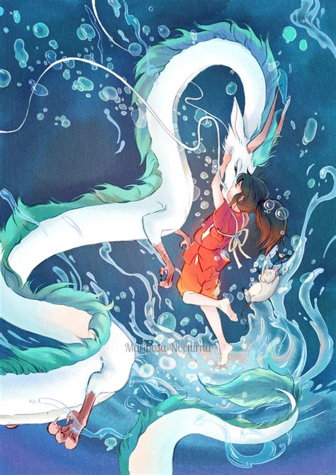 floating river haku x chihiro by mariposa nocturna on