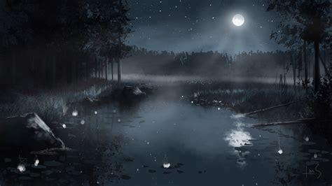 paint nite delaware foto natur mond teich nacht gezeichnet 3840x2160