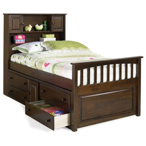 bed bookcase headboard storage bed brahn cecs captains bed with bookcase