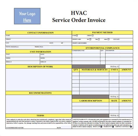 sample hvac invoice template 14 download documents in