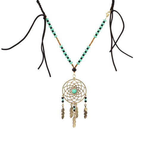 beaded tribal necklace tribal hippie dreamcatcher turquoise beaded fringe leaf