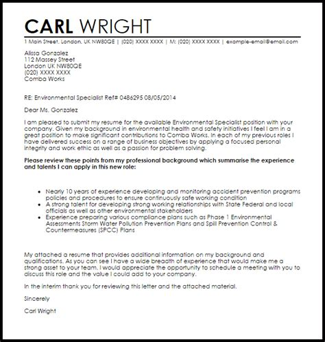 environmental specialist cover letter sample livecareer