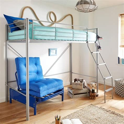 study bunk bed frame with futon chair metal high sleeper with futon