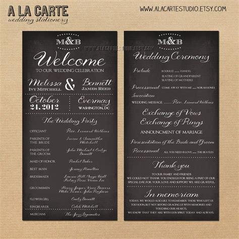 card program wedding ceremony program card wedding program chalk