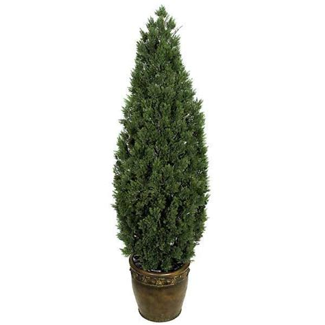 potted tree decorating a deck with potted outdoor artificial trees