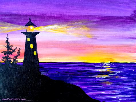 acrylic painting to light or light to easy painting of a silhouette lighthouse with