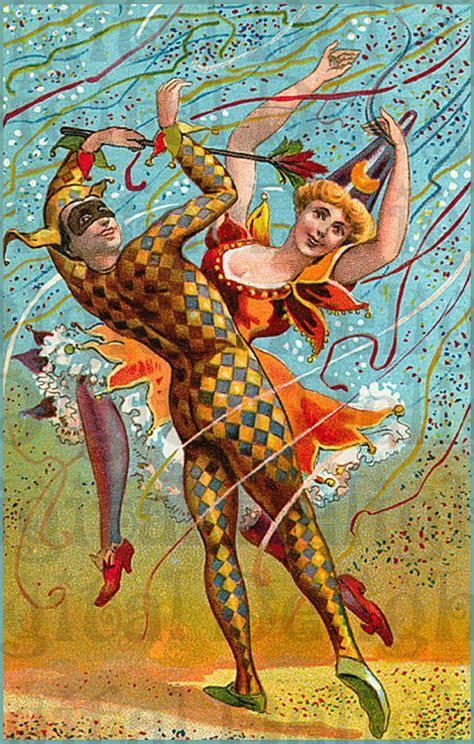 vintage mardi gras mardi gras costumed vintage illustration mardi gras