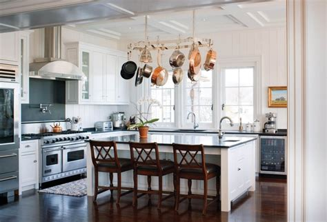 Kitchen Islands With Stove Top how to choose the right rack for hanging pots and pans