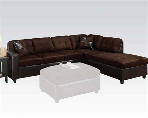 acme sectional sofa reversible sectional sofa chocolate by acme