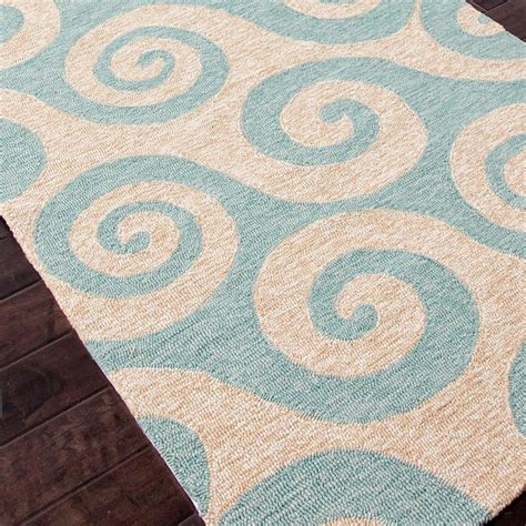 teal outdoor rug whimsical waves in teal or light blue durable