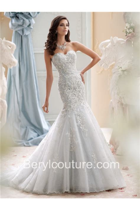 beaded wedding dress fit and flare strapless ivory tulle lace beaded wedding dress