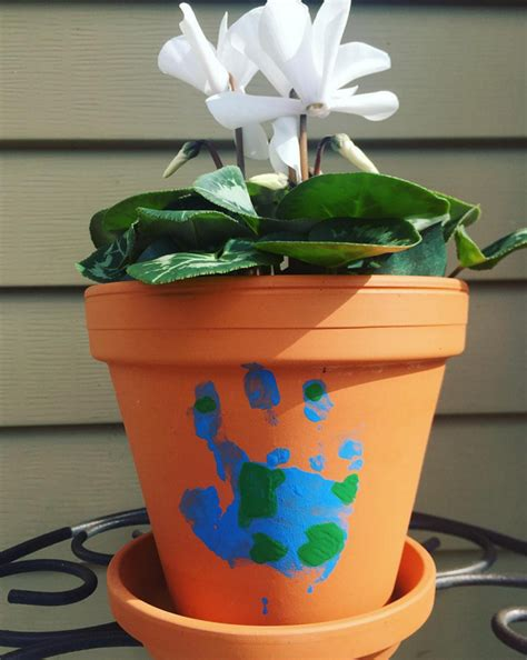 flower pot kid craft earth day handprint flower pot craft crafty morning