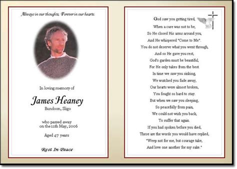 how to make funeral cards best photos of obituary tribute exles memorial sle