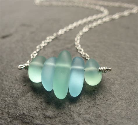 how to make jewelry out of sea glass sea glass necklace seafoam green blue 14k gold