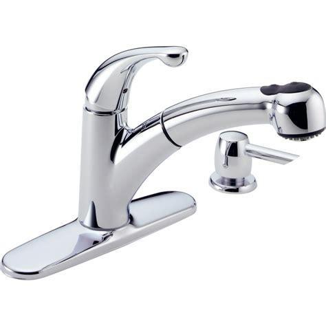 kitchen faucets delta shop delta palo chrome pull out kitchen faucet at lowes