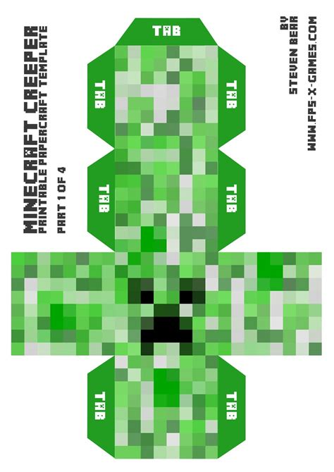 paper craft templates fpsxgames large minecraft creeper free papercraft