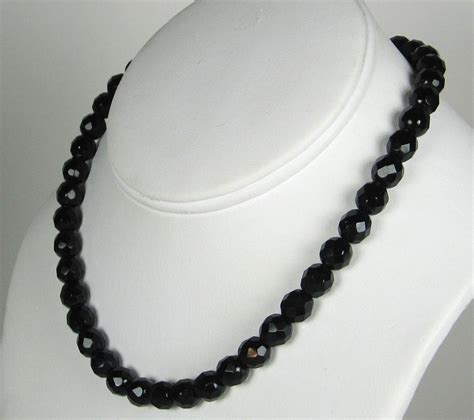 black beaded necklace vintage jet black bead necklace made in austria