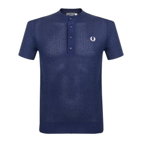 knitted shirt fred perry laurel knitted button neck regal polo shirt