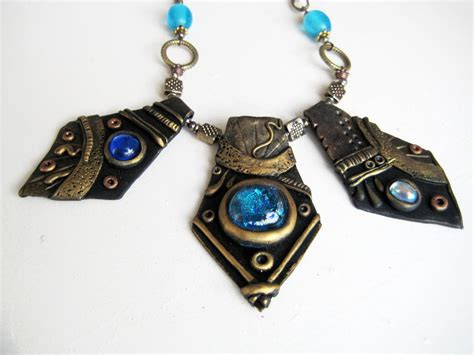 how to make jewelry with polymer clay blue and gold polymer clay necklace by royalkitness