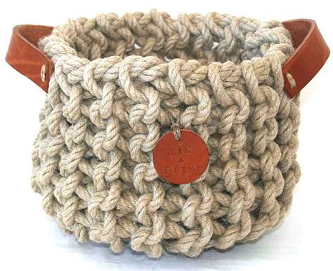 knit rope basket hemp rope knitted basket wic folk