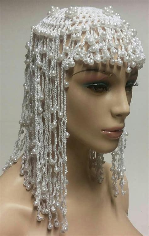 beaded headpiece white cleopatra beaded headpiece accessory