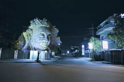 projection tree stunning ghostly 3d projection on trees by clement brined