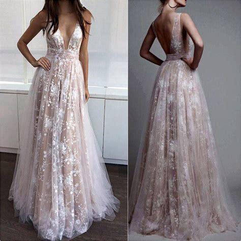 nude dresses deep v neck nude line white lace prom dresses long formal
