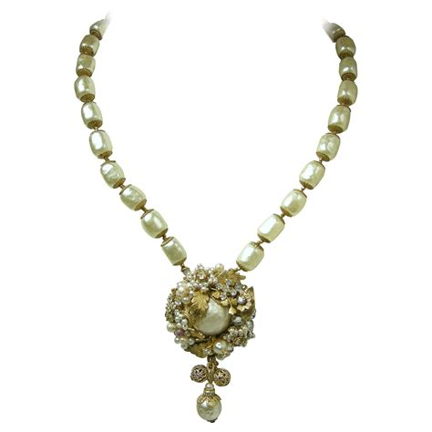 large for jewelry vintage miriam haskell large sized pearl pendant necklace