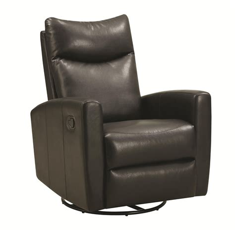 swivel leather recliner chair coaster 600034 black leather swivel recliner a