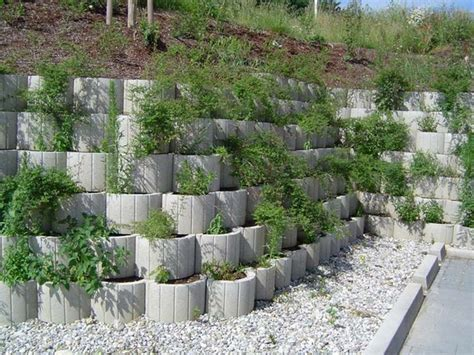 retaining garden wall ideas retaining wall ideas concrete planters as a supporting
