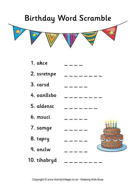 scrabbled words birthday word scramble