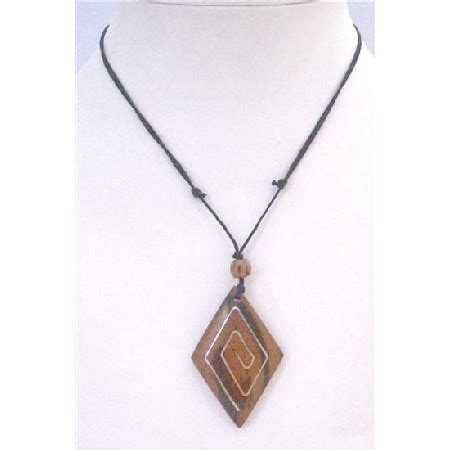 wooden necklace ethnic wooden pendant necklace black cord adjustable