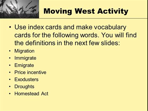 make vocabulary cards bigger better faster the changing nation ppt