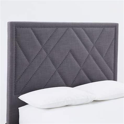 nailhead headboard patterned nailhead headboard upholstered west elm